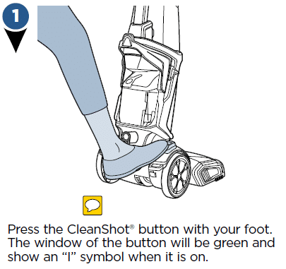 Press the CleanShot button with your foot