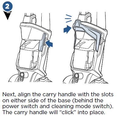 Align the carry handle with the slots