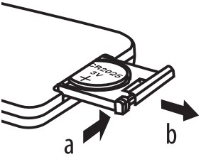 Diagram showing how to replace the battery in the remote control