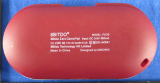 The back of the 8Bitdo ZERO GamePad