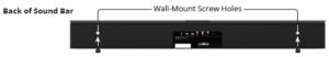Where the wall mounting screws go on the soundbar