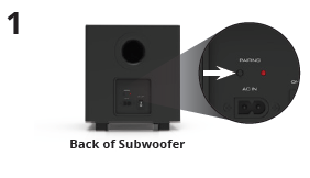 Pairing LED on the rear of the subwoofer