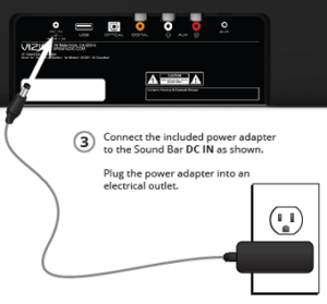 Plugging in the power adapter to the rear of the soundbar