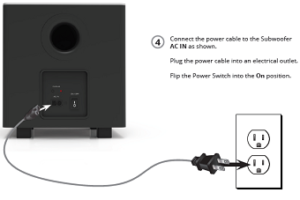 Plugging in the power adapter to the rear of the subwoofer