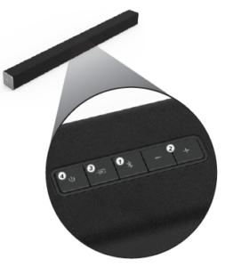 Buttons on the Vizio Sound Bar closeup