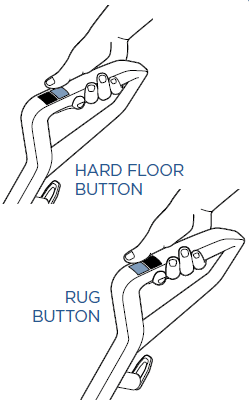 The location of the hard floor and rug buttons