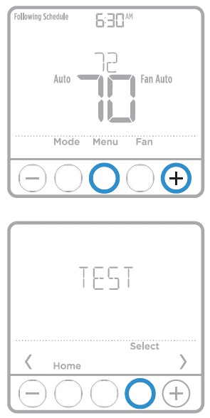 Performing a test on your Honeywell Pro Series Thermostat using the control panel