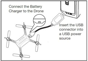 COnnecting the drone to the charger