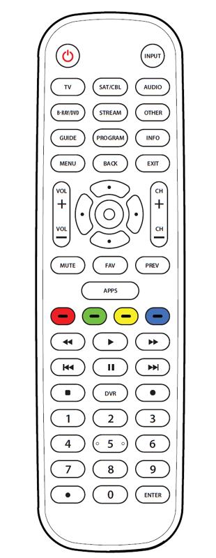 Onn 6-Device Universal Remote diagram