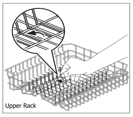 Folding the top rack diagram with hand