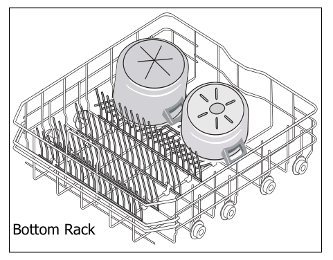 Bottom rack with pots and pans