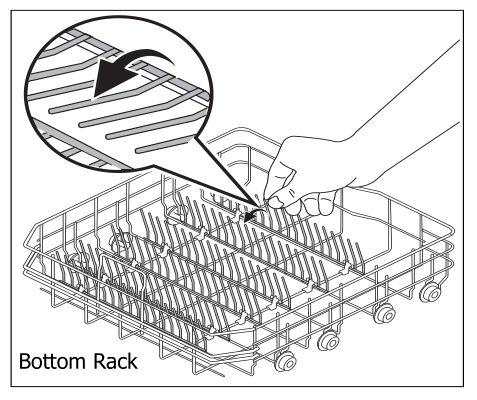 Folding the stands on the bottom rack guide