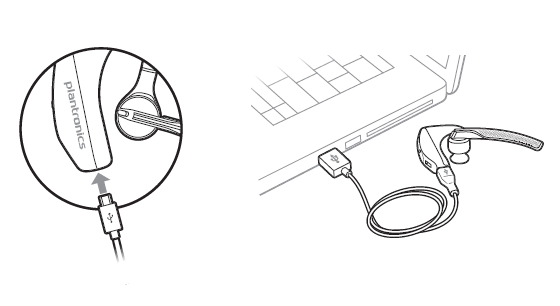 Plugging a micro-USB cable in to charge the headset