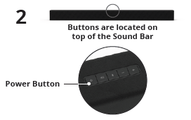 Location of the power button on the top of the soundbar