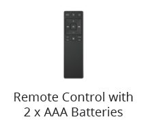 Package contents - remote control with AA batteries