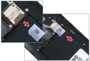 Replacing the sim card with arrow
