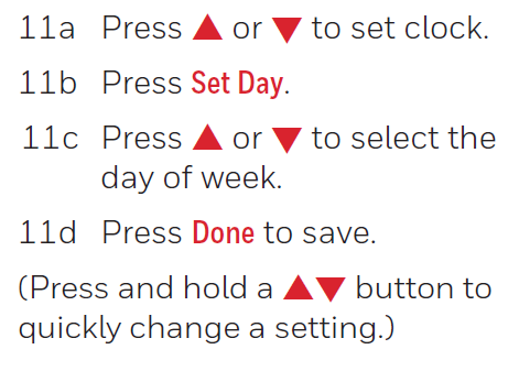 Setting the clock functions buttons