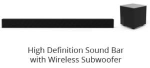 Package contents - soundbar and subwoofer