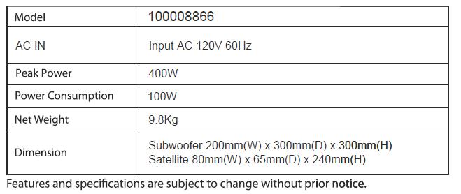 Onn Soundbar specifications table