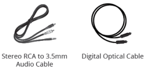 Package contents - stereo RCA and digital optical cable