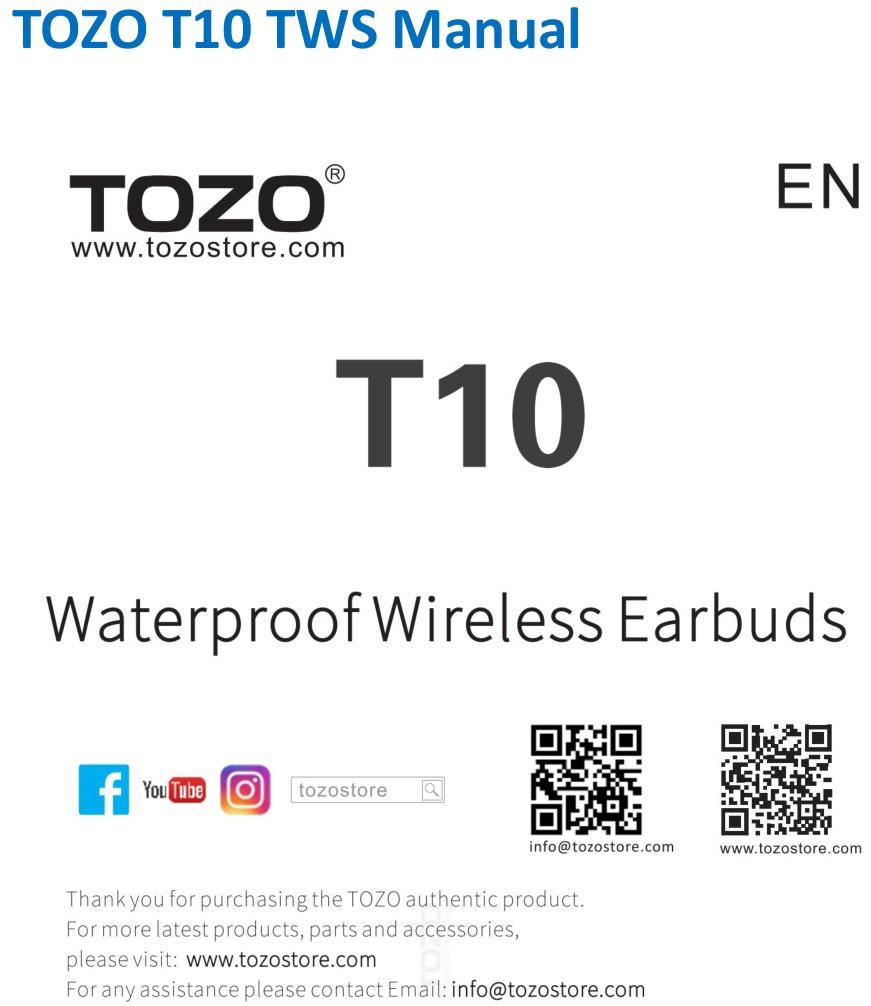 TOZO T10 TWS Wireless Earbuds splash page