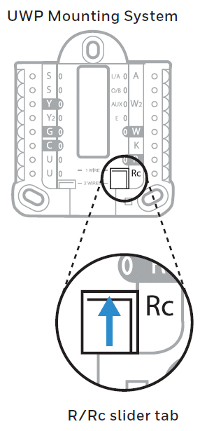 The R/Rc slider tab in the thermostat