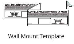 Package contents - a template to secure the unit to the wall