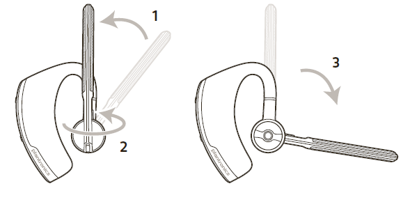 Wearing the headset on the left or right diagram