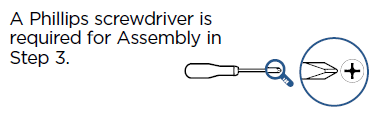 A Philips screwdriver is required message