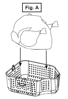 Placing the turkey inside the basket