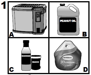 Diagram of the various pieces needed to fry a turkey with the appliance