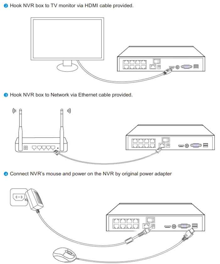 Connecting the cameras to a TV or a router
